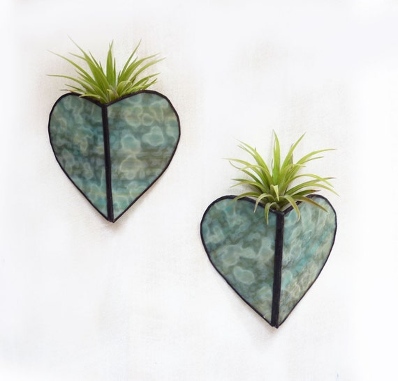Stained glass Sconce -Air Plant Holder - Muted Teal