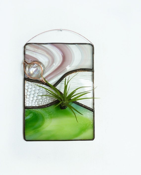 Stained Glass Panel Air Plant Holder - Spring Grass
