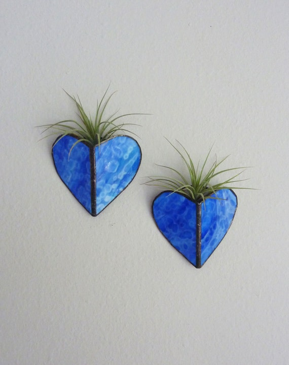 Reserved for milomilo1 - Two Stained glass Heart Sconces and Squares Panel -Air Plant Holder - Bright BLue