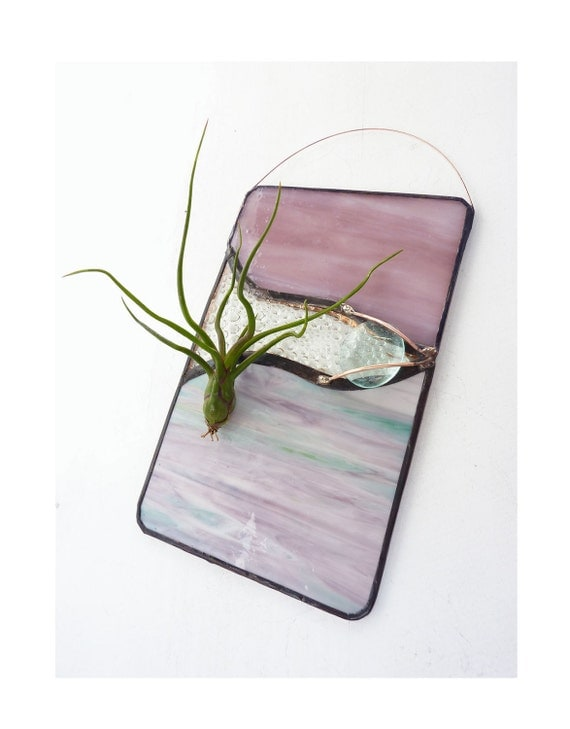 Stained Glass Panel Air Plant Holder - Dusty Pink
