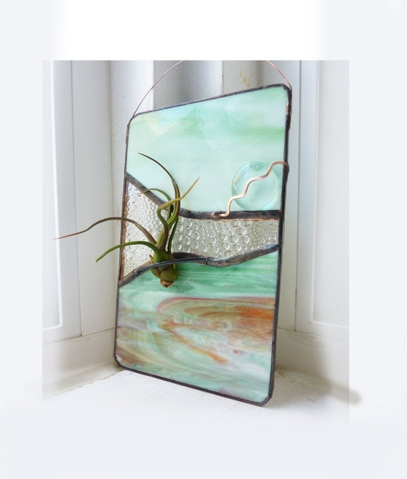 Stained Glass Panel Air Plant Holder - Fire Canyon 4