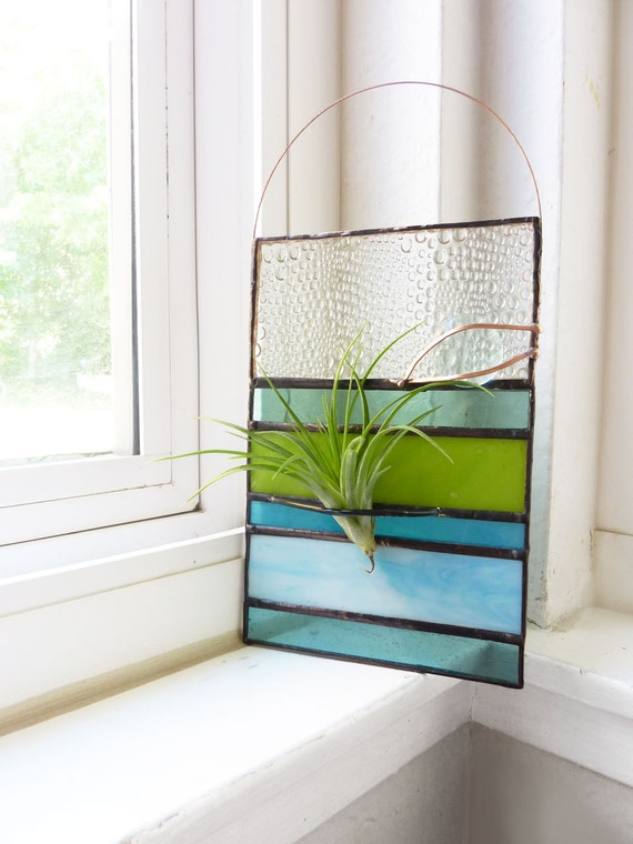 Stained Glass Panel Air Plant Holder - Aqua Green Stripe