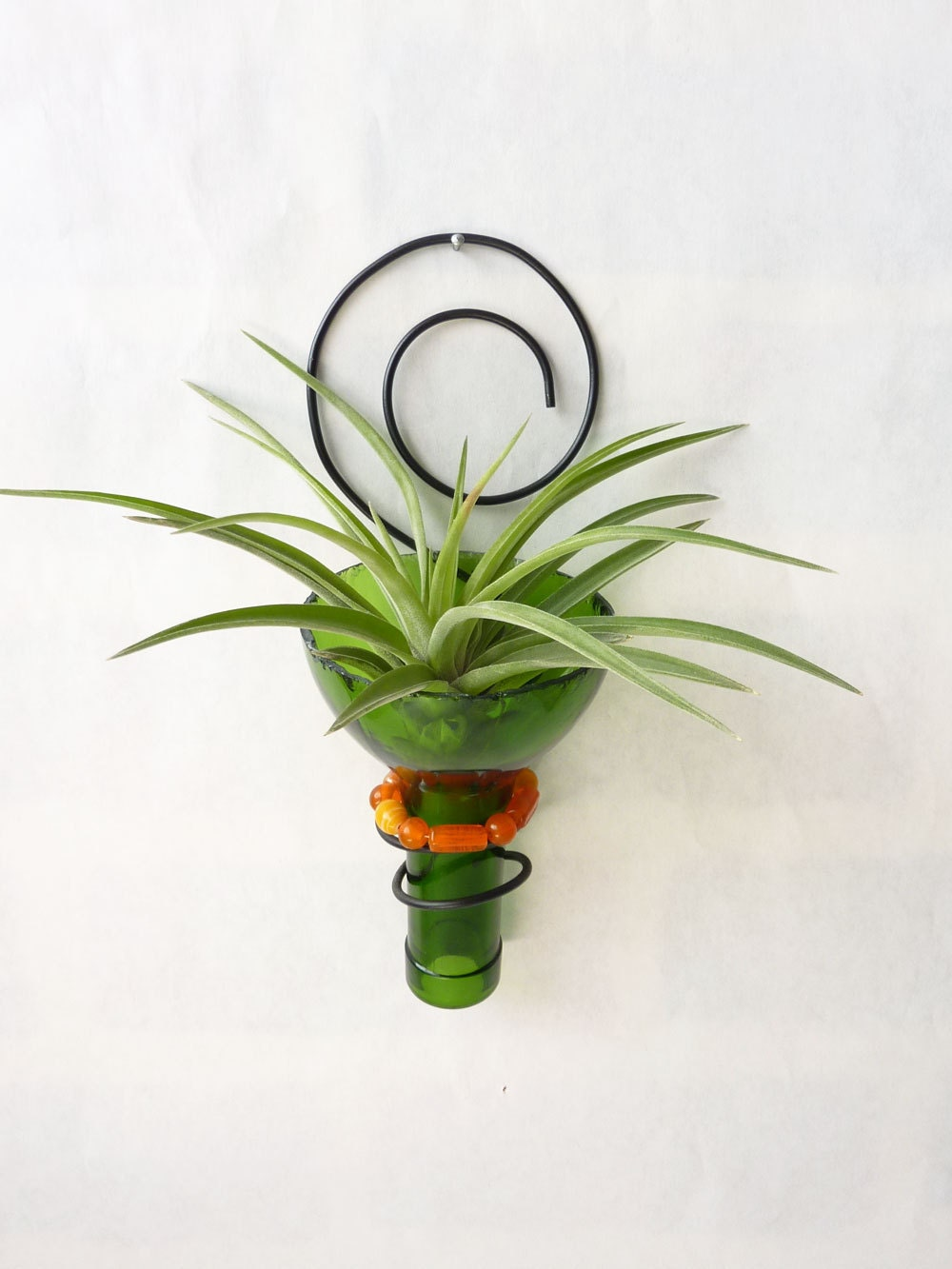 Recycled Bottle Sconce Air Plant Holder Green And Orange