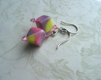 Pink Purple and Yellow Vintage German Cube Earrings One of a Kind