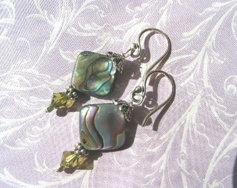 Abalone Earrings Swarovski Element, Green, Turquoise, Pink and Purple, Bali Sterling Earwires,Choice of pierced or Clip-On