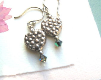 Heart Earrings Bali Sterling Textured One of a Kind with Dots, Granulation and Swarovski Elements,   Clip-On style Also.