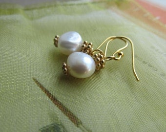 Pearl Earrings Fresh Water Nuggets White 14k Gold Filled Baroque