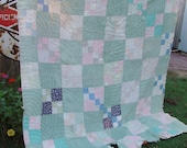 Old Vintage Patchwork Kentucky Made Cutter Quilt Set in Green