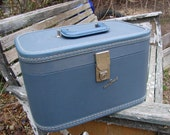 Vintage 1950s Blue Travel Smart Train Case Overnight Bag Luggage Suitcase
