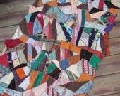 Vintage Crazy Quilt Briar Stitched Cutter Quilt Piece