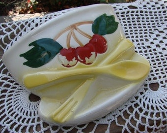 Vintage Wallpocket Bowl with Cherries & Utensils 1940s Era