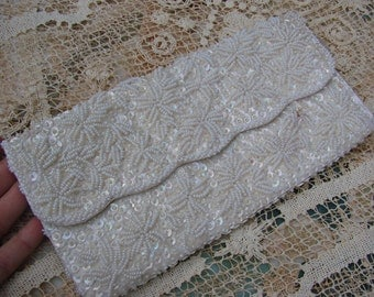 Vintage 1960s Era Off White Beaded and Satin Clutch Purse or Bag