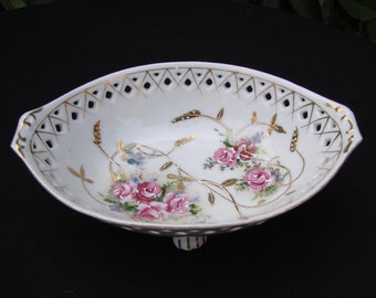 Vintage Oval Lace Edge Footed VIctorian Pink Roses Oval Nut or Candy Dish