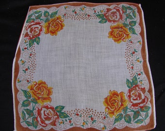 Vintage Cotton Print Ladies Handkerchief with Roses