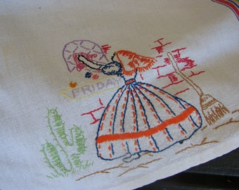 Vintage Days of the Week Embroidery Towel with Southern Belle Cleaning FRIDAY