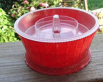VIntage Red Plastic 1950s Era Round Sewing Caddy