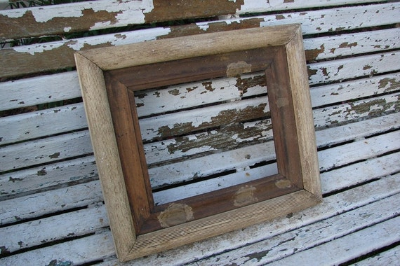 VINTAGE CREAMY CHIPPY WHITE OLD ANTIQUE SHADOW BOX PICTURE FRAME SUPPLIES ALTERED ART