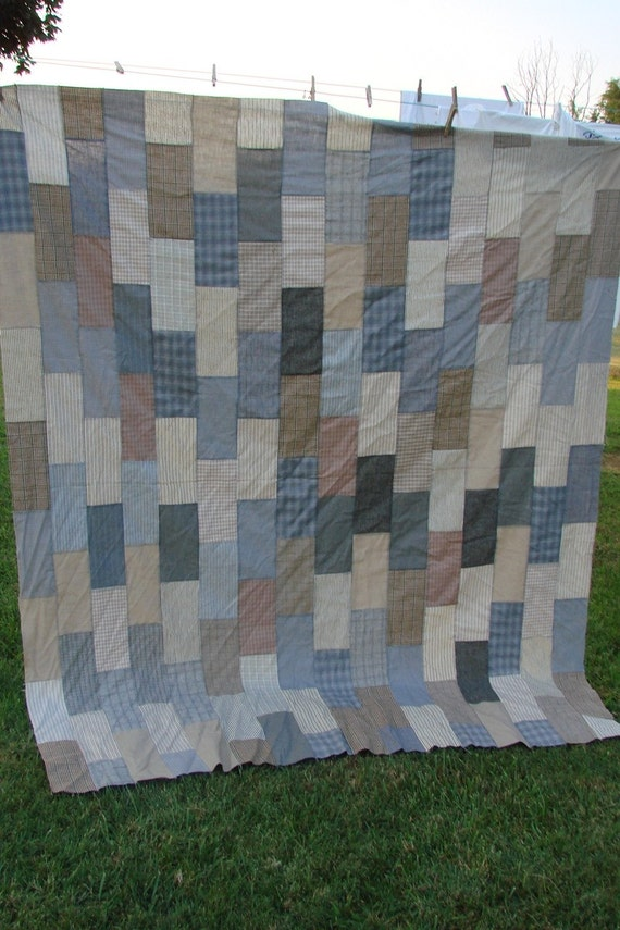 SALE SALE SALE Vintage Brick Pattern Quilt Top made from Mens Clothing Shirting