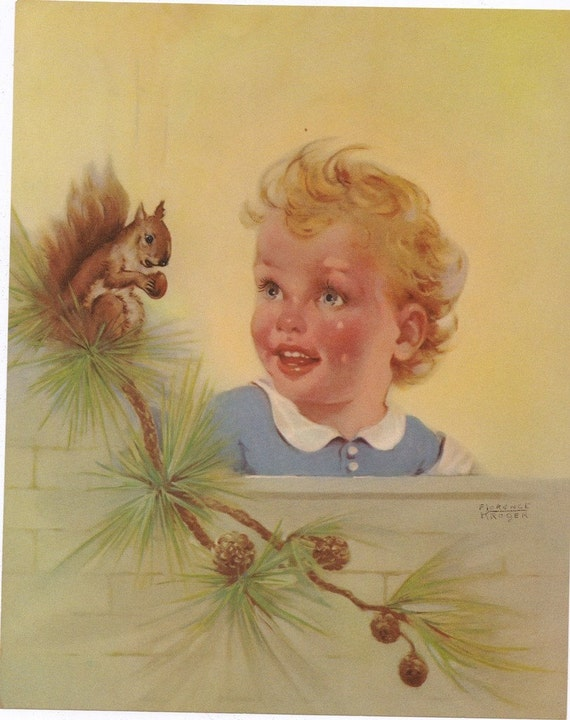 VIntage Old Stock 1940s PRINT Suitable for FRAMING Adorable CHILD with Squirrel