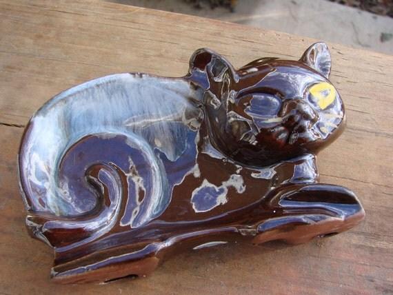 Vintage Brown Drip Glazed Cat Spoon Rest