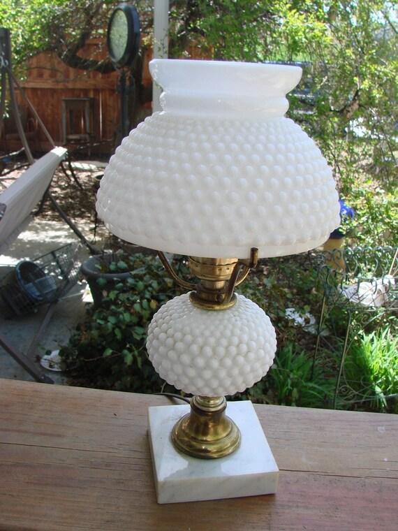 Vintage Milkglass Hobnail Small Dresser Lamp