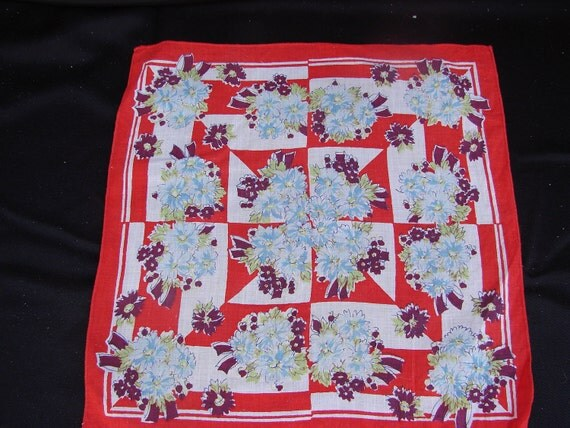 Vintage Red and Blue Floral Ladies Print Handkerchief