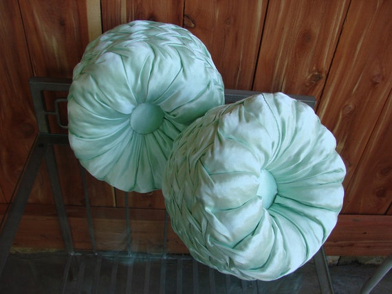 Pair of Vintage Pale Mint Green Hollywood Regency Round Satin Pillows Elegant