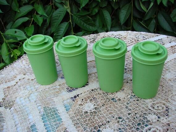 SALE SALE SALE 4 Vintage Apple Green Tupperware Shakers with Lids