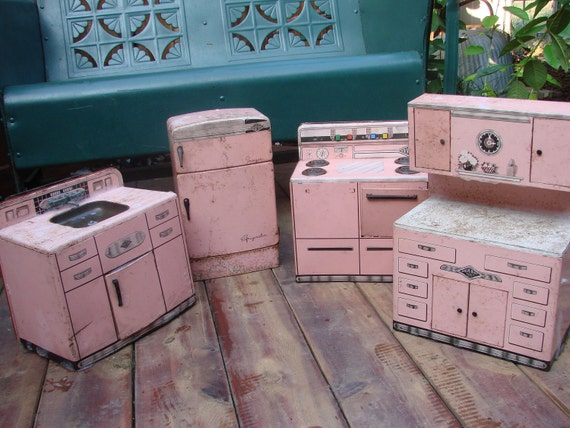 PINK Metal Kitchen Refrigerator Stove Kitchen Cabinet and Sink