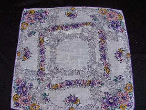 Vintage Purple Floral Ladies Print Handkerchief Hankie