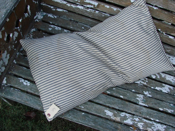 Vintage Navy Blue Stripe Ticking Old Feather Pillow