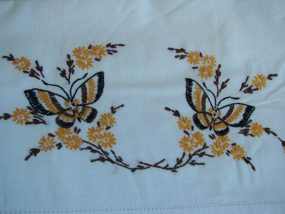 Vintage Hand Embroidery Pair of Pillowcases with Butterfly Butterflies