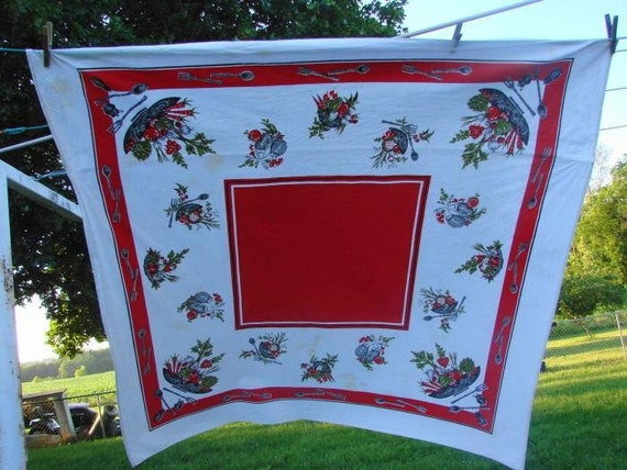 SALE SALE SALE VINTAGE RED and WHITE PRINTED TABLECLOTH LOTS OF VEGETABLES VEGGIES