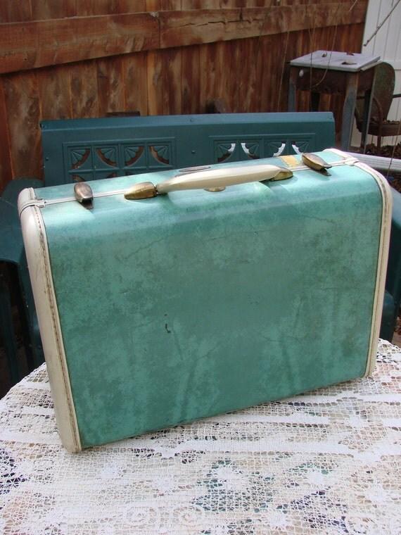 Vintage 1950s Era Samsonite Marbleized Green and Ivory Small Suitcase Luggage