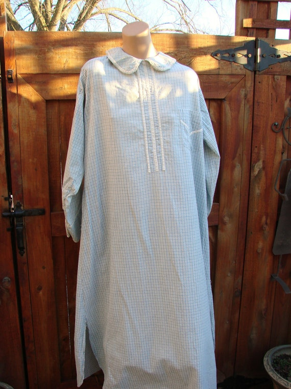 Vintage Rural Americana Blue Check Country Gown