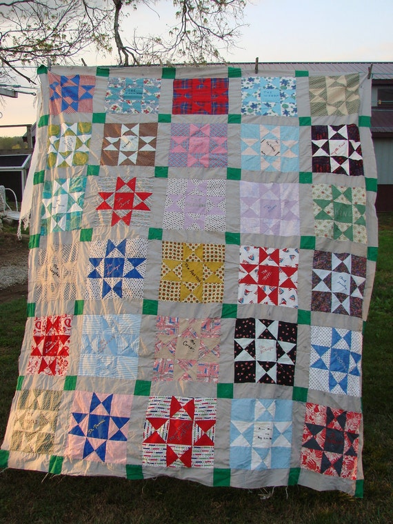 Vintage Star Pattern Friendship Quilt Top Embroidery Names