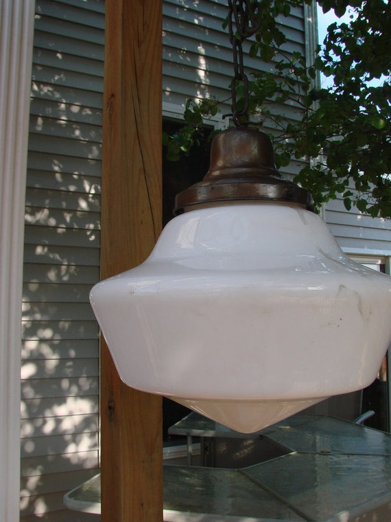 VIntage Old School House Hanging Industrial Light Fixture White Milkglass Shade