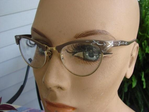 Vintage 1950s Era Cat Eye Ornate Aluminum and Gold Filled Eyeglasses