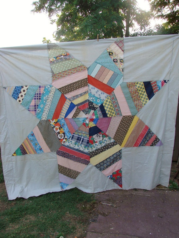 Vintage Lone Star Pattern Kentucky Made Quilt Top