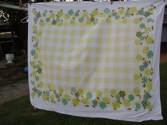 VIntage Yellow and Green Floral with Checks Printed Kitchen Tablecloth