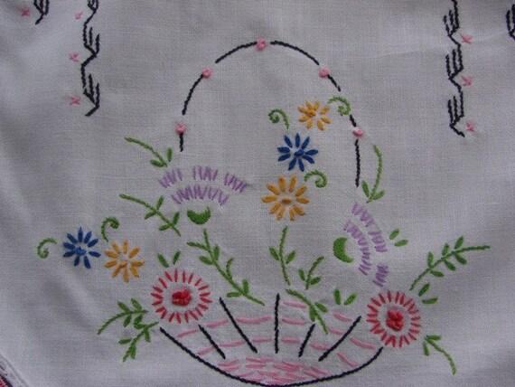 Sale vintage hand embroidery flower basket dresser