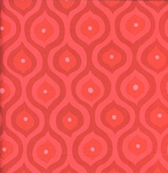 Valori Wells, Curves in Red, Olive Rose Fabric, 1 Yard