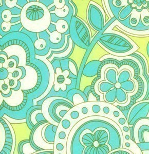Erin McMorris, Floral Swirl in Turquoise, Park Slope, 1 Yard