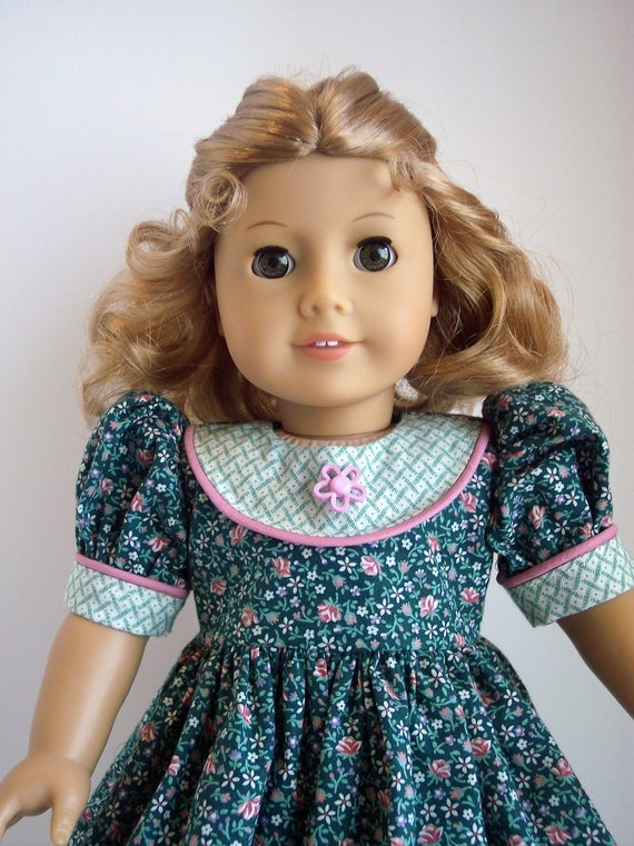 American Girl Doll Clothes-Short Sleeved Teal Green Dress