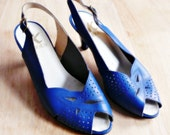 gorgeous vintage electric blue peep toe heels