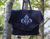 Felted Wool Purse in Navy Blue with Fleur de Lis Embroidery