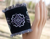 Bracelet in Black Suede with Embroidery BoHo Chic - HuzzahHandmade