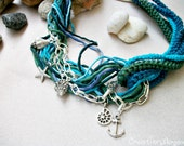 Greek sea necklace silk and cotton crochet cord with metal chain and findings