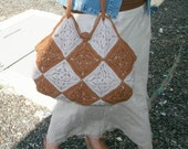 Chocolate and wheat crochet granny squares modern hobo bag, cotton yarn, linen, brown, off white, by creationsbyeve