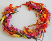 Colorful mixed materials statement necklace